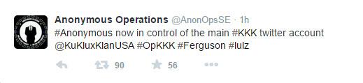 Figure 7: Anonymous's Tweet Announcing OperationKKK (Beaumont, 2014).